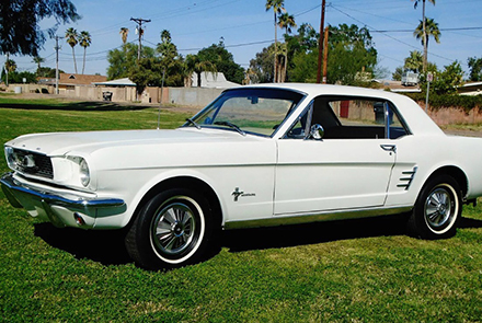 White 1966 Mustang Coupe